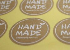 Round White Hand Made Stickers Kraft Label Sealing Sticker 180pcs 35*35mm 3.5cm