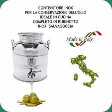 CONTENITORE INOX 18/10 LT.5 PER OLIO COMPLETO DI RUBINETTO INOX SALVAGOCCIA