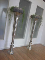 Vase gross XXL Luxus Bodenvase Amphore Pokalvase Aluminium Guss silber 115 cm
