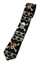 Unisex Pirate Skull & Crossbones Skinny Tie Slim Novelty Fancy Gothic Necktie UK
