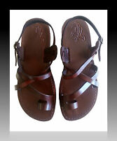 Brown Leather Sandals Mens Gladiator Flat Biblical Jesus Shoes UK Sizes 6-12 New