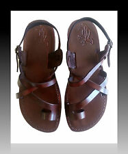 Brown Leather Sandals Womens Gladiator Flat Biblical Jesus Shoes UK Sizes 2.5-7