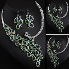 Women Green Crystal Zircon Necklace Earring Statement Peacock Bridal Jewelry Set