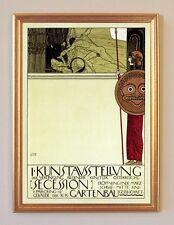 Gustav Klimt Kunstausstellung Secession Wien Plakat Faksimile 107 im Goldrahmen