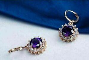 3Ct Round Cut Blue Tanzanite Halo Drop & Dangle Earrings 14k Rose Gold Finish