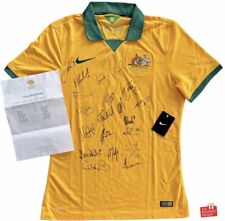 Authentic Nike Australia Socceroos 2014/15 Player Issue Team Signed Home Jersey.