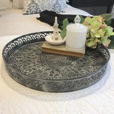 Large Pressed Metal Tray/DARK/Round/Ornate Frame/Trinket Tray/Bedroom/Bathroom