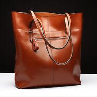 Damen Tasche Vintage Stil echt Leder Braun Shopper Handtasche Schultertasche