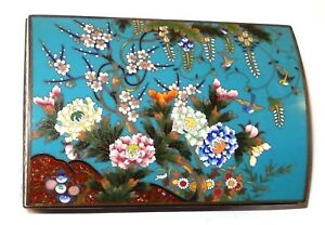 RARE CHINESE CLOISONNE ENAMEL FLORAL BIRDS HUMIDOR JAR BOX