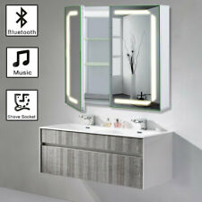 LED Illuminated Bathroom Mirror Cabinet Shaver Socket Bluetooth Speaker Anti-fog