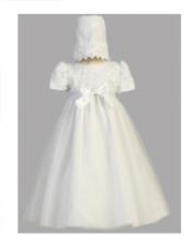 Blanco Vestido De Bautizo Con Detalle De Flor de Bonnet-Hermoso Talla 3 - 6 meses