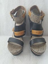 Massimo Wedge Double Strap Shoes Size 8.5 Braided with Small Studs