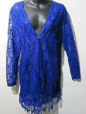 Long Lace Vest Fits L XL 1X Bolero Blue Fringe Stretchy Sheer Jacket NWT G007