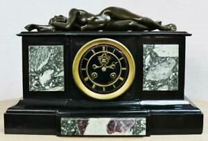Exceptional Antique 19thC French 8 Day Marble & Bronze Lady Figural Mantle Clock
