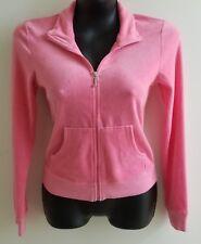 Juicy Couture Women's S Pink Velvet Velour Zip Cropped Jacket Sparkles Bling EUC