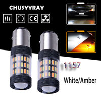 PAIR 1157 60-SMD 4014 LED Dual Color White/Amber Switchback Turn Signal Bulb