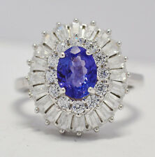 BRILLANTISSIMO ANELLO  ARGENTO 925 TANZANITE  NATURALE E DIAMANTI