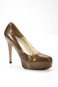 Brian Atwood Womens Patent Leather Platform Pumps Gold Size 38.5 8.5