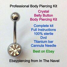 Kit piercing del cuerpo. Belly Button, Cristal Claro. profesional estéril Kit.