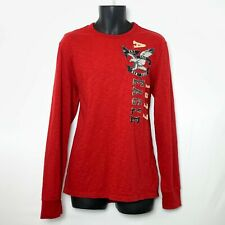 American Eagle LS Red Heather Shirt Large Patch Logo on Front Crew Neck Size L
