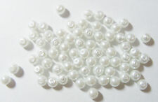 200 Glass Pearl Beads - 6mm - White