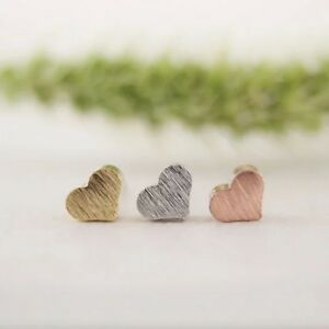 Heart Earrings Tiny studs silver, gold or rose gold Valentines Gift FREE POSTAGE