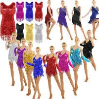 Women Sequins Tassel Latin Jazz Tango Rumba Belly Dance Dress Ballroom Costume