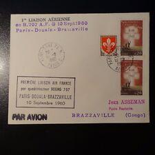 AVIATION LETTRE COVER PREMIER VOL PARIS DOUALA BRAZZAVILLE CONGO 1960