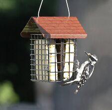 Wire Grid Bird Feeder Metal Roof Suet Cake Seed Squirrel Proof Out Door Garden