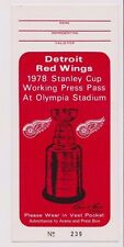1978 Detroit Red Wings Olympia Stadium Stanley Cup Working Press Pass