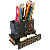LEMO Library Books Design Wooden Caddy Pencil Holder Office Decorative