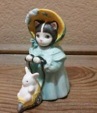 1985 Kitty Cucumber Figurine by Schmid Ellie pushing bunny in carriage stroller