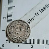 I08406 demi franc suisse 1907 pièce de monnaie argent silver coin
