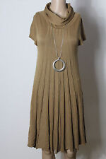 Italy Kleid Gr. 36 reh-braun wadenlang A-Linie Kurzarm Stiefel Strick Kleid