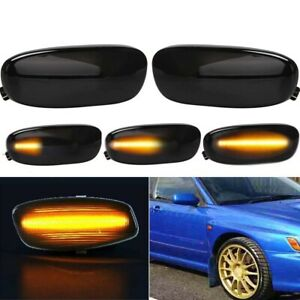 For 93-01 Subaru Impreza Front Smoke Dynamic Amber LED Side Marker Signal Lamp