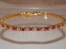 3.14 tcw Designer Pink Tourmaline & Diamond Tennis Bracelet E/VVS High End 14k