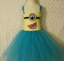 minion inspired princess Tutu dress 8-14 kids knee length