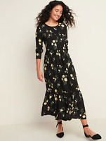 Old Navy Women's NWT Black Floral Print Midi Tiered Dress Long Sleeve Size Small