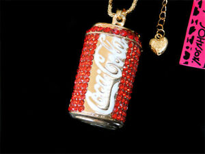 Betsey Johnson Red Crystal Enamel Cans Bottle Pendant Necklace Sweater Chain