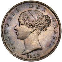 1853 HALFPENNY - VICTORIA BRITISH COPPER COIN - SUPERB