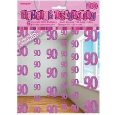 Pink Glitz 90th Birthday Hanging Decorations Pack 6 5ft Strands Unique Party