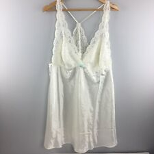 Flora Nikrooz Nightgown 1X White Lace Rhinestone Bridal Lingerie HH49