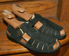 Finn Comfort Sandals Black Leather One Strap Womens US 10 Made in Germany UK 7.5