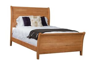 Amish Modern Sleigh Bed Solid Wood Bedroom Furniture USA Full Queen King