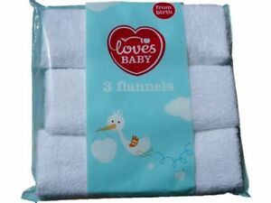 Baby Flannels White Soft Cotton 3 PACK Wash Cloths Face Towel Unisex Washcloth