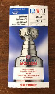 1998 NHL Playoffs Buffalo Sabres Playoff Ticket Stub vs Canadiens Semifinals