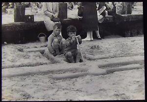 Glass Magic Lantern Slide BOYS ON BEACH - AEROPLANE SAND SCULPTURE C1930 PHOTO