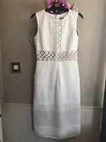 Asos White Crochet/Organza Occasion Midi Dress Size 8