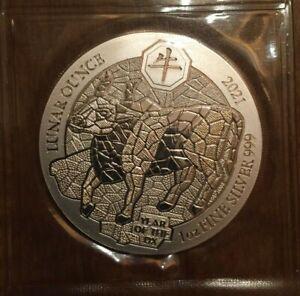 2021 Rwanda Year of the Ox 1 oz .999 silver