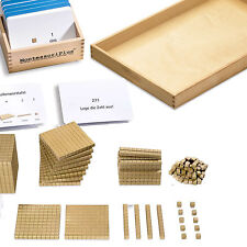 Goldenes Würfelmaterial wie Perlenmaterial & Aufgabenkartei, Montessori-Material